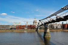 Free St Paul Cathedral And The Millennium Bridge Stock Image - 5546331