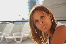 Free Beautiful Latin Girl Tongue Stock Photography - 5548812