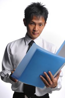 Free Asian Business Man Holding File Stock Images - 5549914