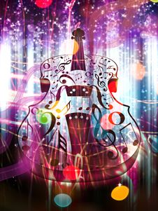 Free Abstract Violin On Bokeh Background Royalty Free Stock Images - 55418119