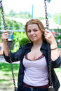 Free Portrait Of The Young Girl On A Swing Royalty Free Stock Photos - 5551348