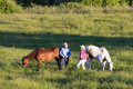 Free Horses Eating And Trainers Conversing - Horizontal Royalty Free Stock Photo - 5555505