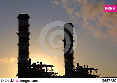 Free Industrial Complex Plant At Sunset Stock Photo - 5557380