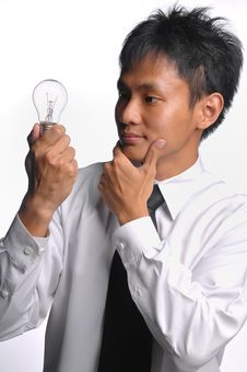 Asian Business Man Having An Idea Royalty Free Stock Photography