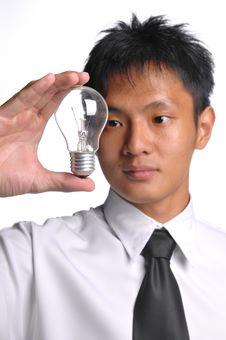 Asian Business Man Having An Idea Stock Image