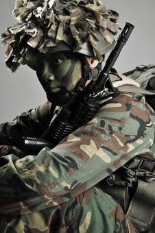 Free Camouflage Soldier Fully Equipped Stock Photo - 5550210