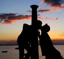 Free Kiss At Sunset Royalty Free Stock Photos - 5550318