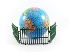 Free Globe Planet Earth Railing Guard Royalty Free Stock Photography - 5551287