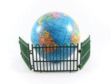 Globe Planet Earth Railing Guard Royalty Free Stock Photography