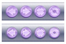 Set Of Violet Browser Buttons, On And Off Royalty Free Stock Photography