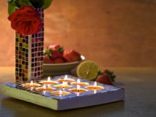 Free Romantic Table With Mosaic Candle Holder Royalty Free Stock Photos - 5552178