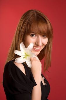Free Laughing Girl With Flower Royalty Free Stock Images - 5553189