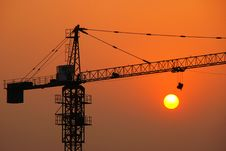 Free Crane And Sunset Royalty Free Stock Photo - 5554725