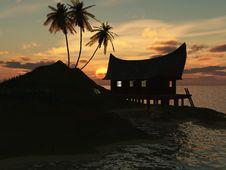 Free Sunset On Sea Royalty Free Stock Photo - 5555075