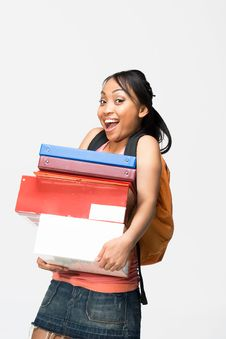 Free Student Carrying Books - Vertical Royalty Free Stock Images - 5555719