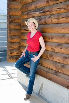Woman In Cowboy Hat - Vertical Royalty Free Stock Photography