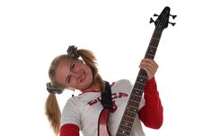Free Girl With Guitar Royalty Free Stock Images - 5556339