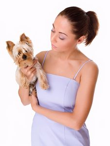 Free Beautiful Woman With A Little Dog Stock Photo - 5556440