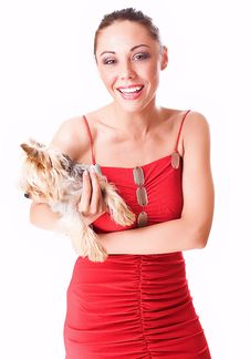 Free Happy Girl With A Little Dog Royalty Free Stock Photography - 5556557