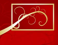Free Golden Swash On Red Background Royalty Free Stock Photography - 5556647