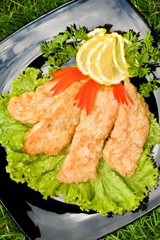 Free Fried Chicken Fillet With Vegetables Stock Photo - 5559550