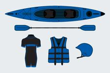 Free Blue Flat Rafting Set With Kayak, Helmet, Paddle, Suit Stock Photography - 55528792