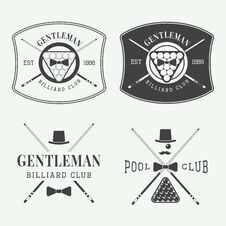 Free Set Of Vintage Billiard Labels, Emblems And Logos Stock Image - 55529351