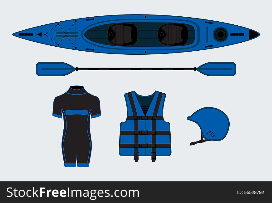 Blue flat rafting set with kayak, helmet, paddle, suit