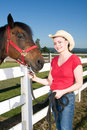 Free Woman In Cowboy Hat With Horse - Vertical Stock Image - 5560081