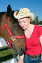 Free Woman In Cowboy Hat With Horse - Vertical Stock Images - 5560224