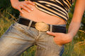 Free Closeup Sexy Woman Tan Belly In Jeans Royalty Free Stock Photo - 5563005