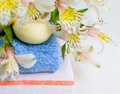 Free Soap And Flower On Blue Fabric Background Royalty Free Stock Image - 5567716