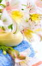 Free Soap And Flower On Blue Fabric Background Royalty Free Stock Photo - 5567735