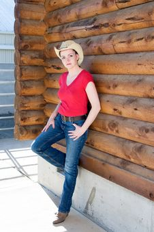 Woman In Cowboy Hat - Vertical Stock Images
