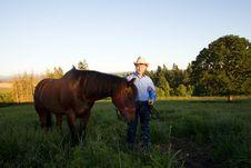 Free Male Farmer And Horse - Horizontal Stock Photo - 5560290