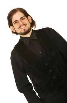 Man In Black Vest And Bow Tie Stock Photo