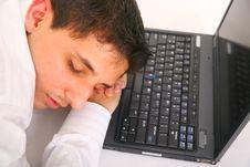 Free Sleeping On Laptop Stock Photo - 5560640