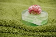 Soap And Rose On The Towels Stock Images