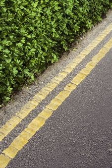 Yellow Lines On Country Lane Royalty Free Stock Images