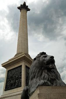 Vertical View Of The Nelson Column In London Stock Images