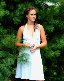 Free Girl Among The Pines Stock Photo - 5564630