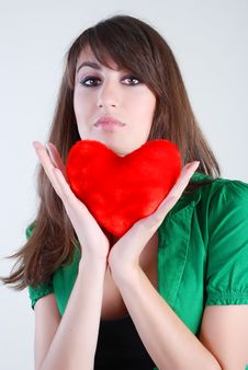 Free Girl With Heart Stock Photography - 5567772