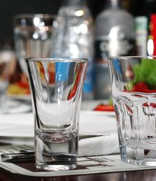 Free Empty Glasses On Banquet Table Royalty Free Stock Images - 5567809