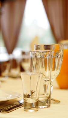 Free Glass On Banquet Table Royalty Free Stock Photography - 5567827