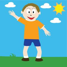 Free Boy Waving Stock Photos - 5569463