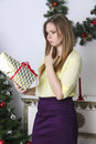 Free Pregnant Woman Opening Christmas Present Stock Photography - 55683482