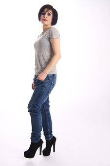 Free Tomboy Girl In Casual Wear Stock Images - 55683644