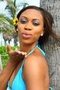 Free Woman Blowing A Kiss Stock Photography - 5570152