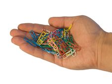 Free Paper Clip In Hand Royalty Free Stock Images - 5570909