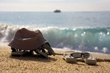 Free Two Pairs Of Beach Shoes Royalty Free Stock Photos - 5571138